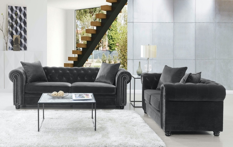 Greenwich Living Room Set in Gun Metal
