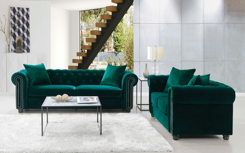 Greenwich Living Room Set in Emerald