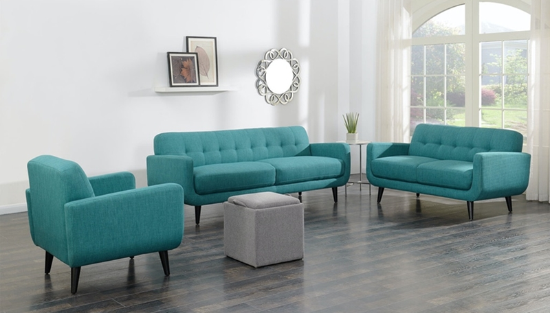 Hadley Living Room Set in Aqua Teal
