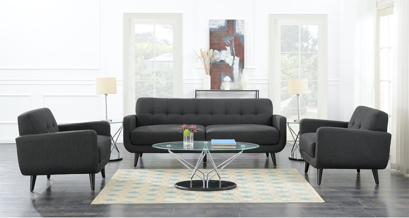 Hadley Living Room Set in Charcoal