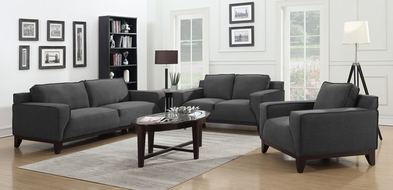 Hampton Living Room Set in Black