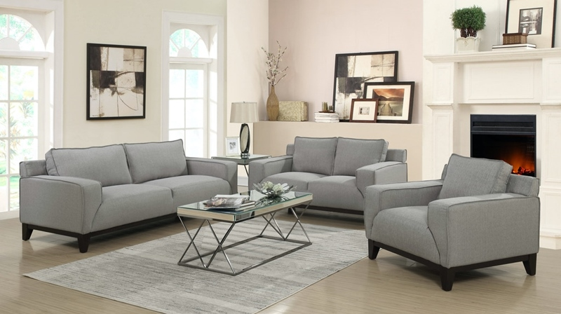 Hampton Living Room Set in Charcoal