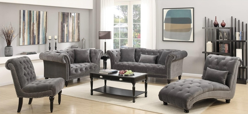 Twain Formal Living Room Set in Gray