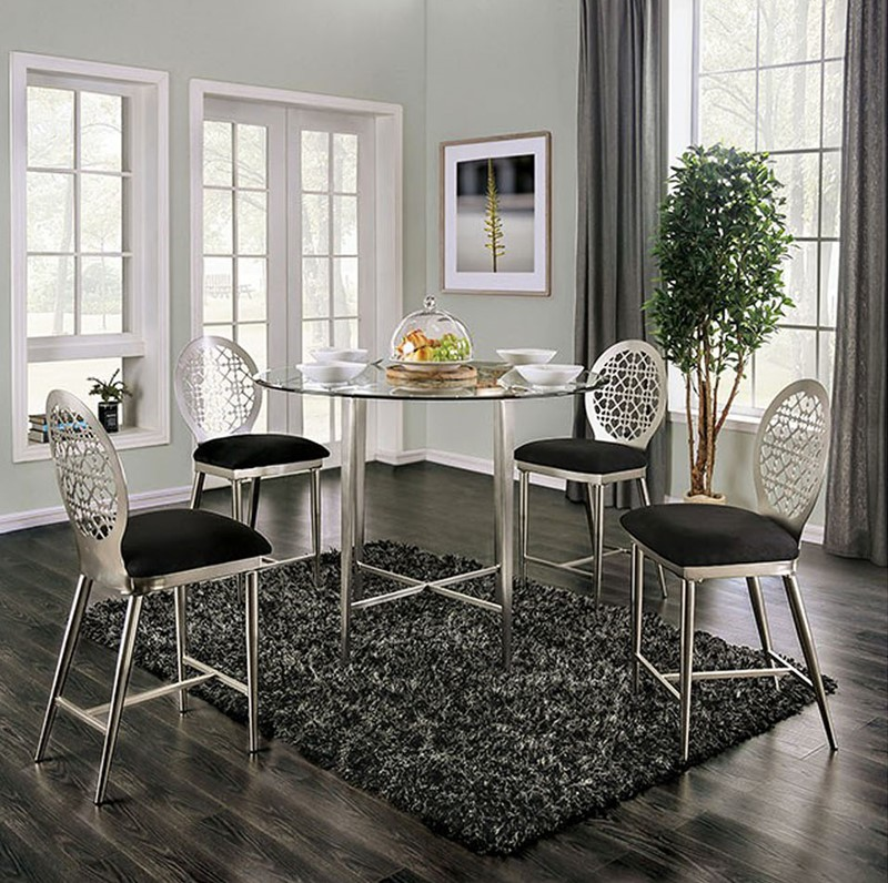 Abner Counter Height Dining Room Set Round Table in Silver/Black