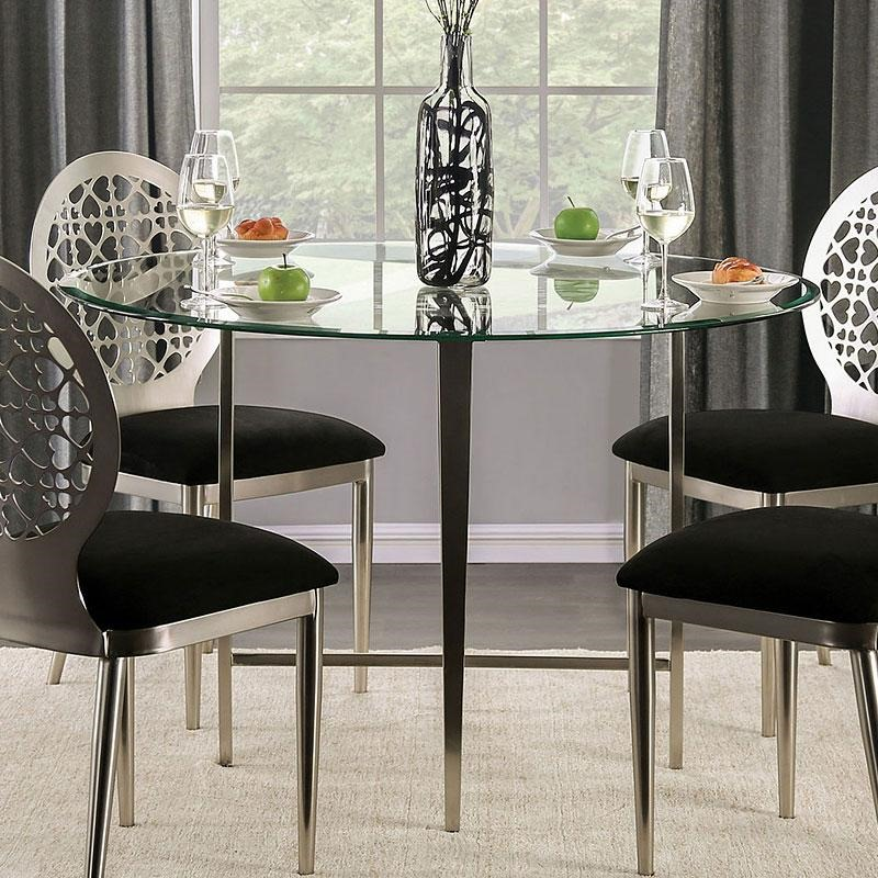 Abner Dining Room Set Round Table in Silver/Black