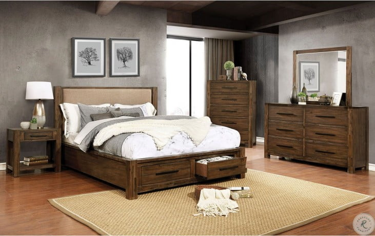 Coney Bedroom Set in Walnut/Tan