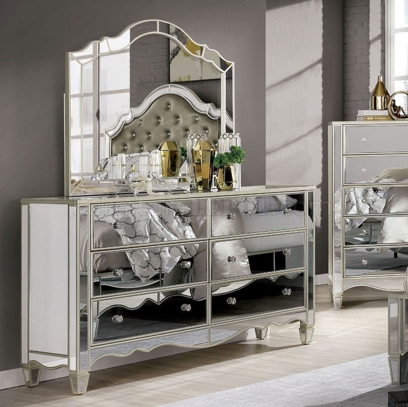 furniture of america | foa7890 mirrored silver bedroom set