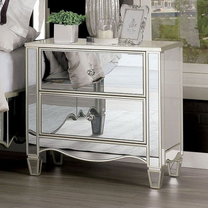 furniture of america  foa7890 mirrored silver bedroom set