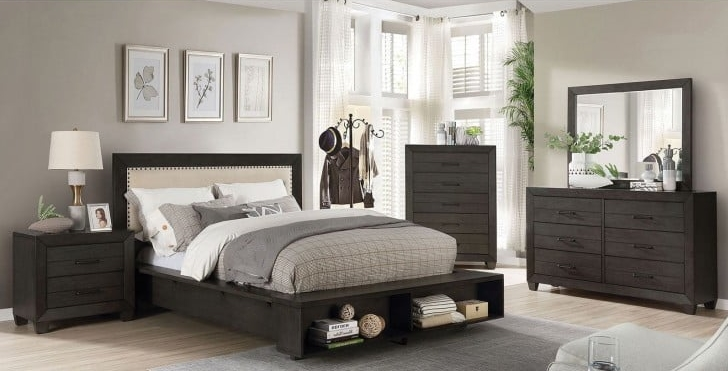 Sligo Bedroom Set in Dark Gray / Beige