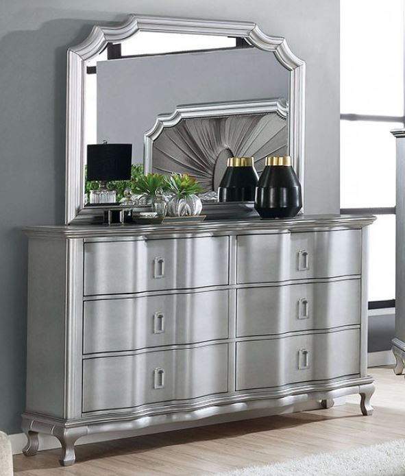 Aalock Dresser and Mirror in Silver *Clearance*