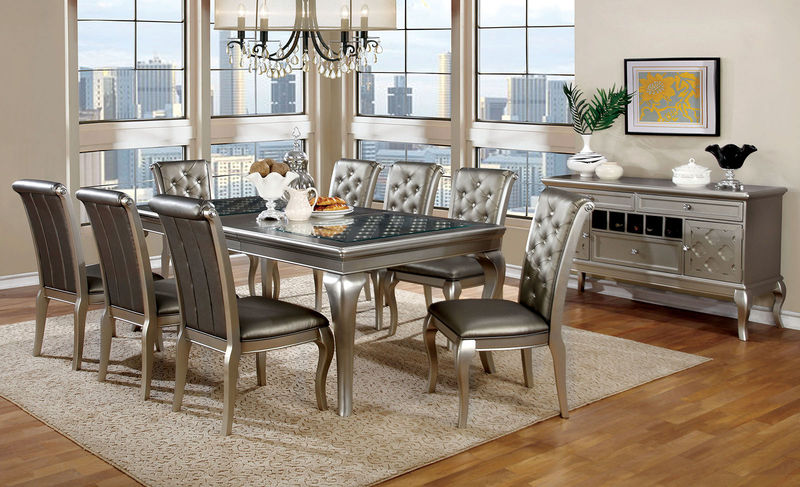 designer dining room chairs. Amina Formal Dining Room Set In Champagne Designer Chairs