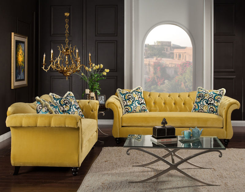 Bon Antoinette Living Room Set In Royal Yellow