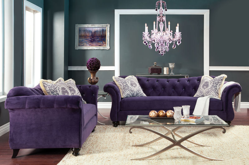 Dallas Designer Furniture | Antoinette Living Room Set in Purple