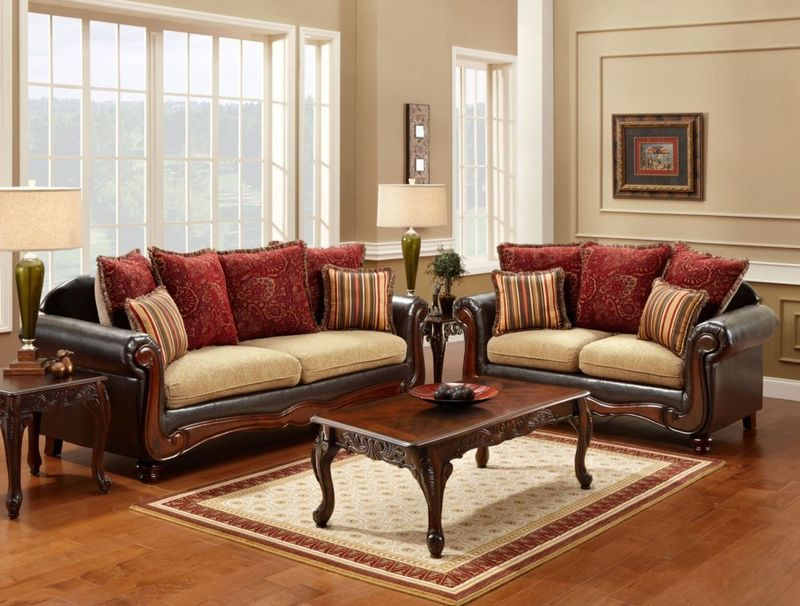 Banstead Living Room Set in Tan/Espresso