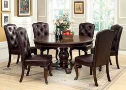 Bellagio Formal Dining Room Set with Round Table and Leatherette Chairs