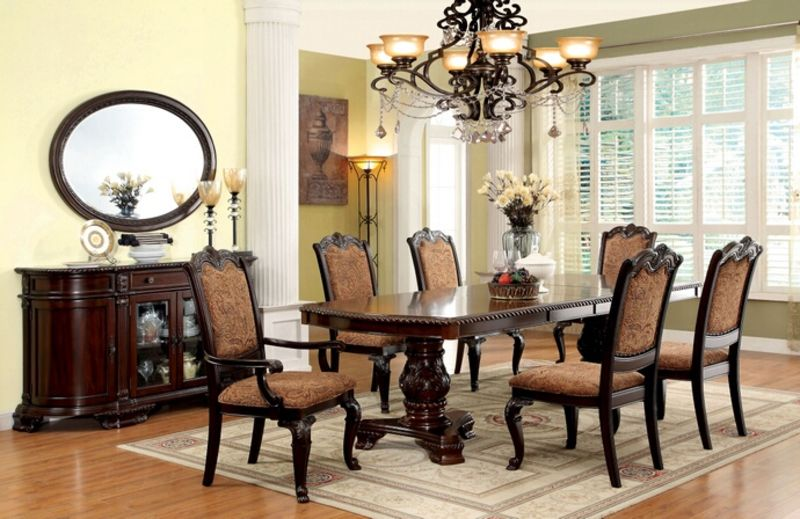 Bellagio Formal Dining Room Set with Fabric Upholstered Chairs