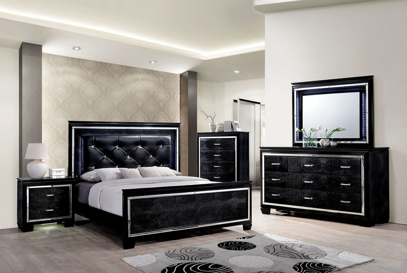 black bed with white furniture. Bellanova Bedroom Set In Black Bed With White Furniture