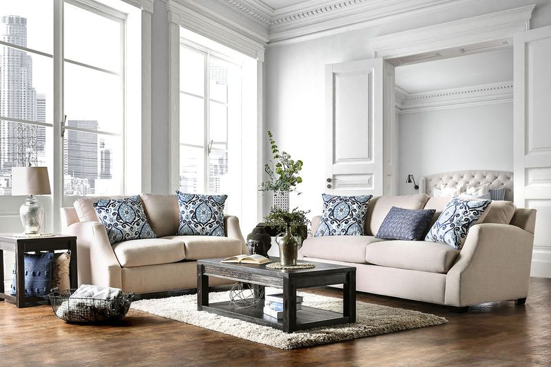 Beltran Living Room Set in Blue & Beige