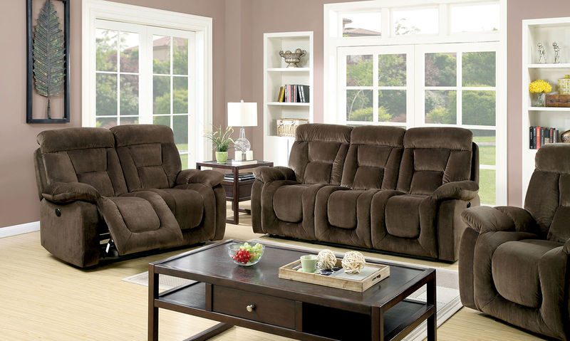 Bloomington Reclining Living Room Set in Brown with Power Motion