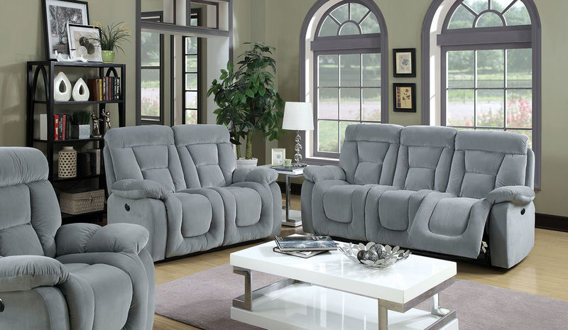 Bloomington Reclining Living Room Set in Gray with Power Motion