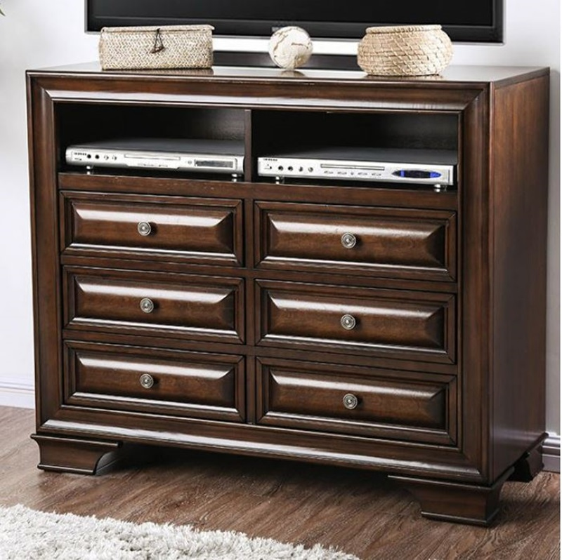 Brandt Bedroom Set in Brown Cherry with Storage Drawers