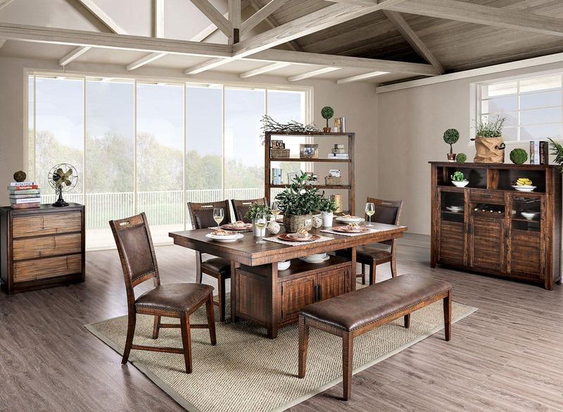 Wichita Dining Room Set in Distressed Dark Oak