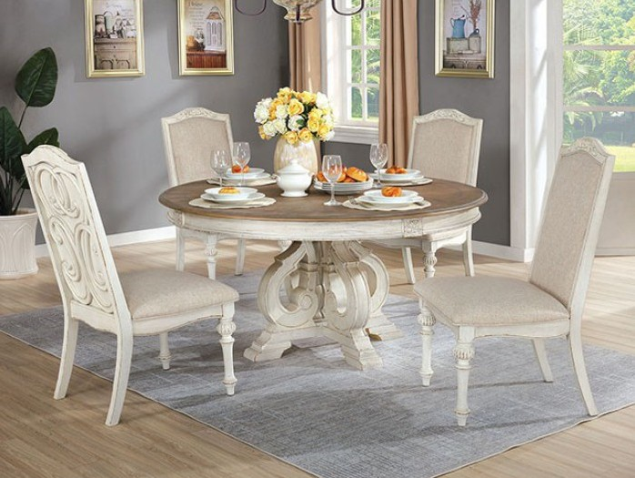 Arcadia Formal Dining Room Set Antique White with Round Table