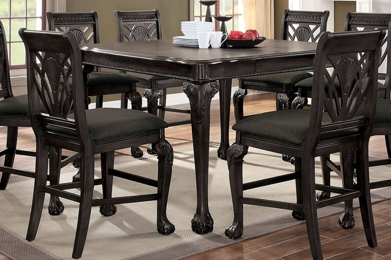 Petersburg Counter Height Dining Room Set in Gray