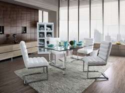 Sunniva Dining Room Set with White Chairs