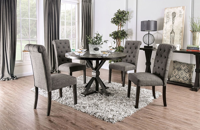 Alfred Dining Room Set Round Table in Gray