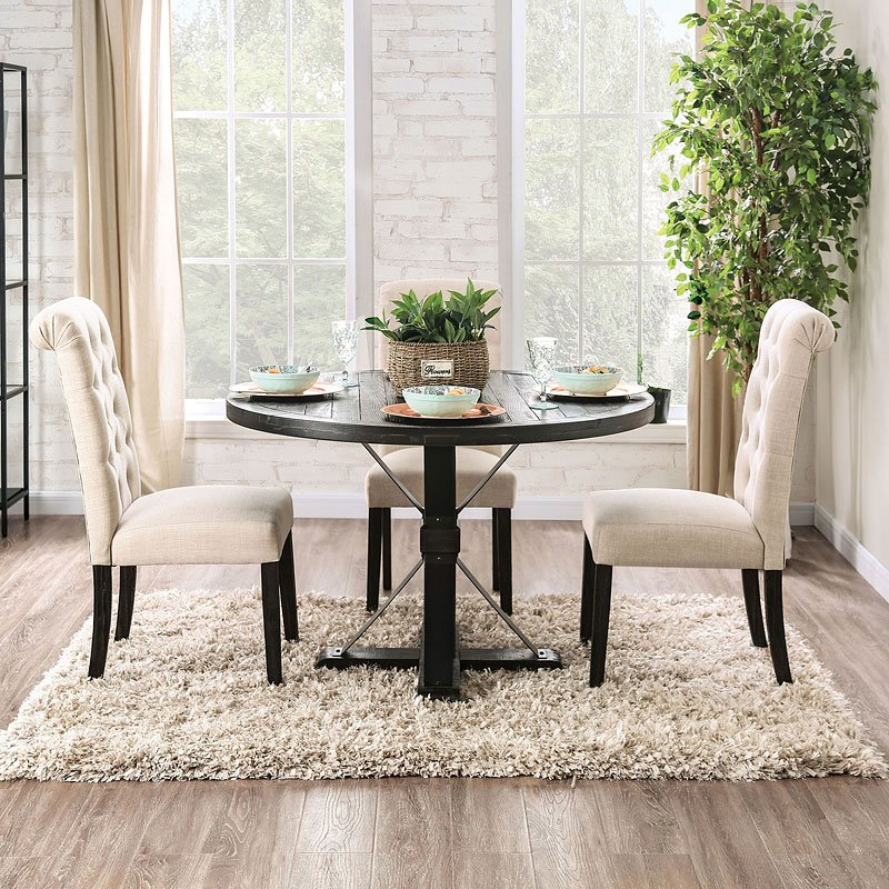 Alfred Dining Room Set Round Table in Ivory