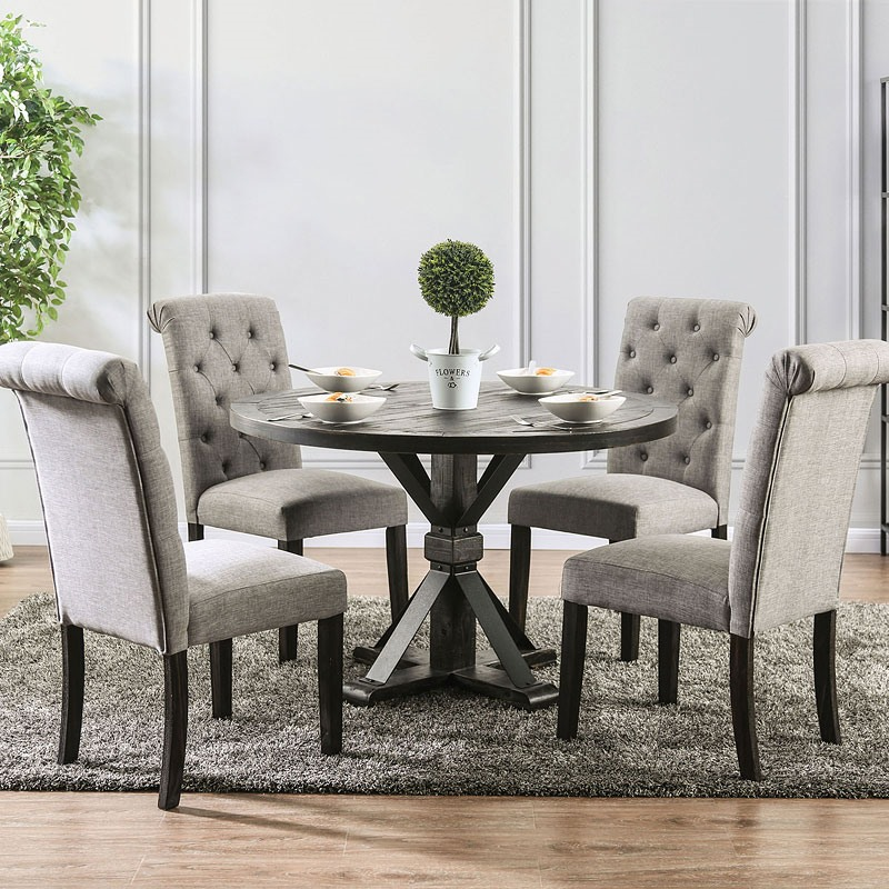 Alfred Dining Room Set Round Table in Light Gray
