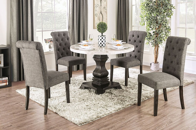 Elfredo Dining Room Set Round Table in Gray