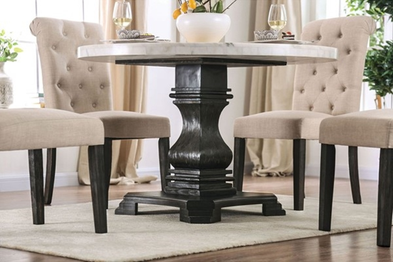 Elfredo Dining Room Set Round Table in Ivory