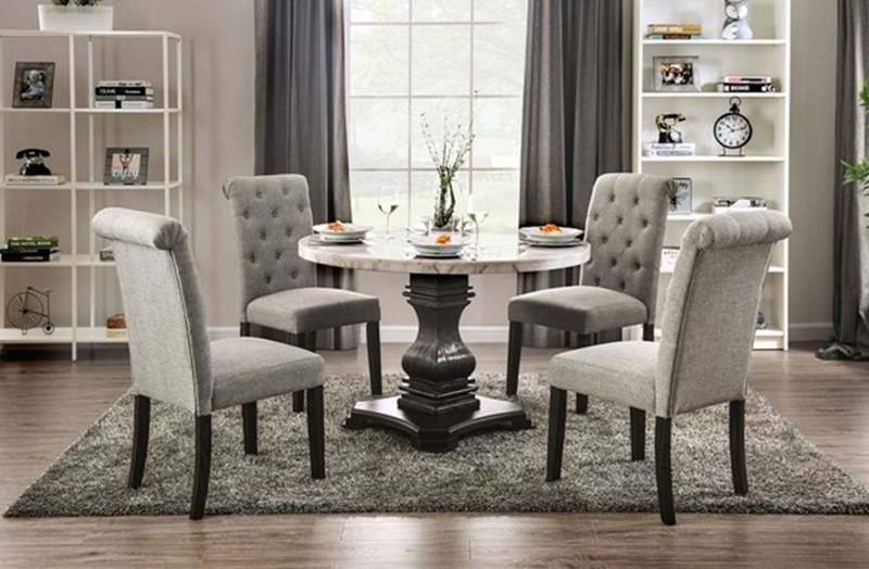 Elfredo Dining Room Set Round Table in Light Gray