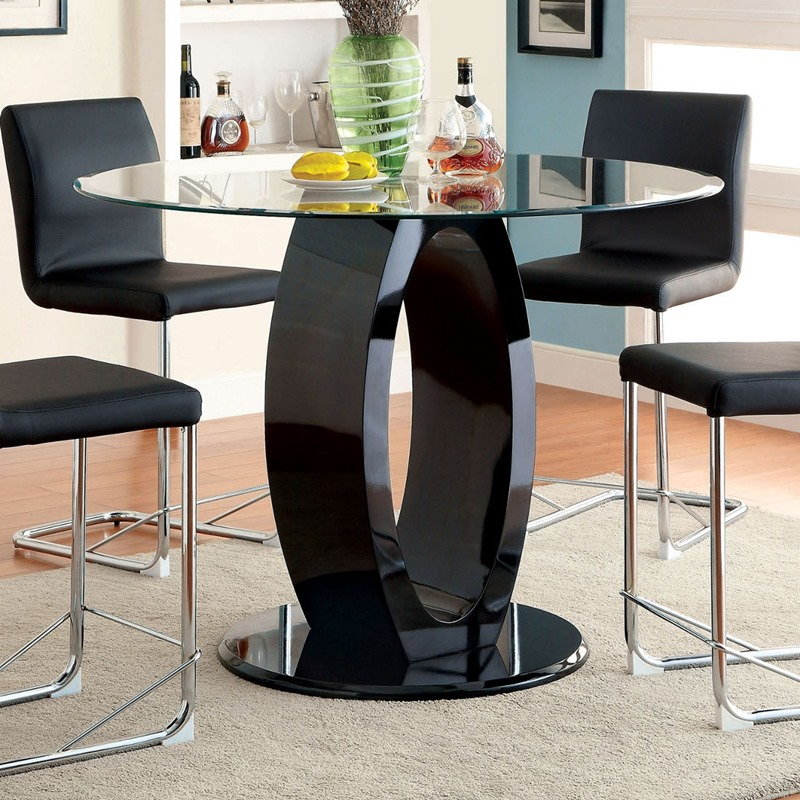 Lodia Counter Height Round Dining Room Set in Black