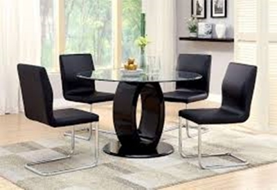 Lodia Round Dining Room Set in Black