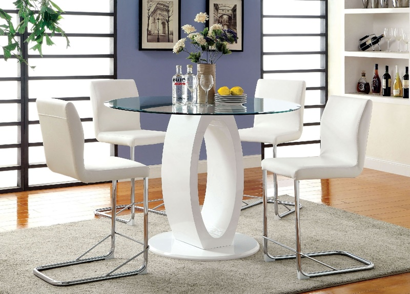Lodia Counter Height Round Dining Room Set in White