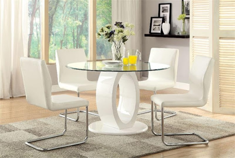 Lodia Round Dining Room Set in White