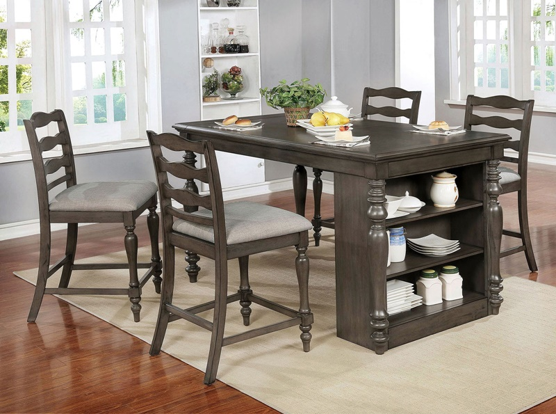 Theresa Counter Height Dining Room Set in Gray