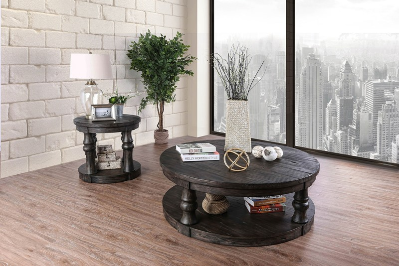 Mika Coffee Table Set in Antique Gray