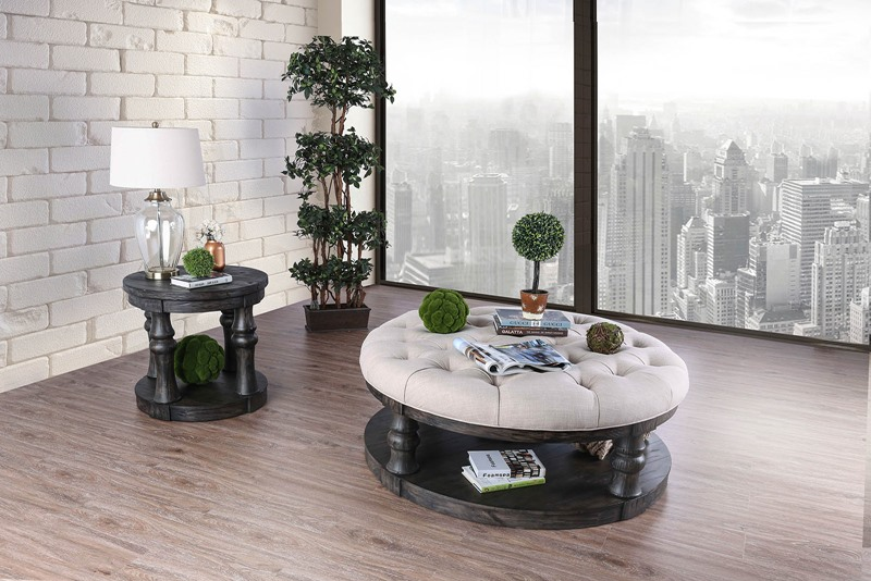 Mika Coffee Table Set with Cushioned Top in Antique Gray