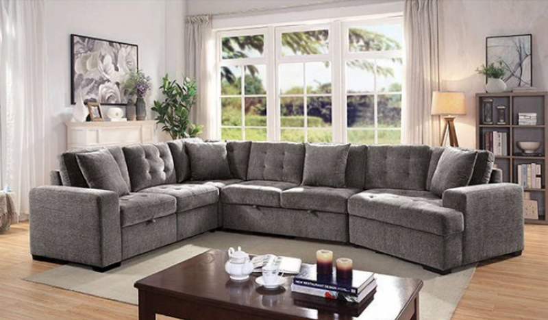 Steph Sectional Sofa with Sleeper in Gray