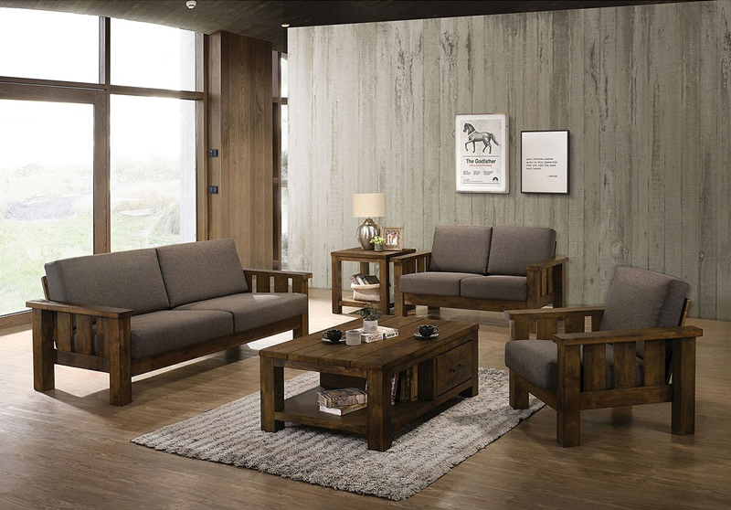 Laura Living Room Set in Antique Brown Oak