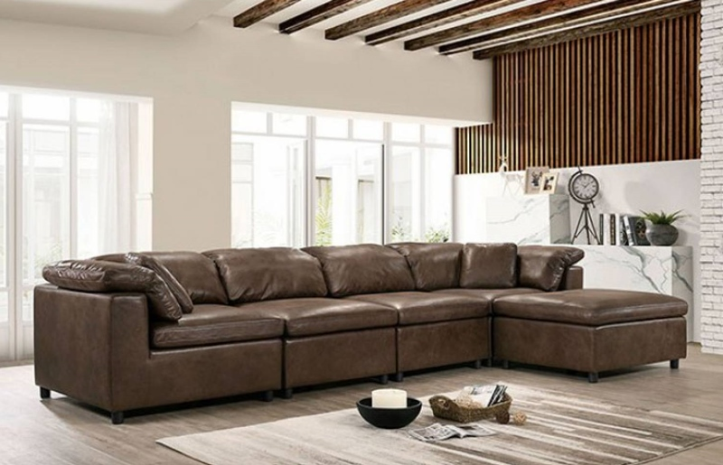 Tamera 6 Seat Sectional Sofa in Brown