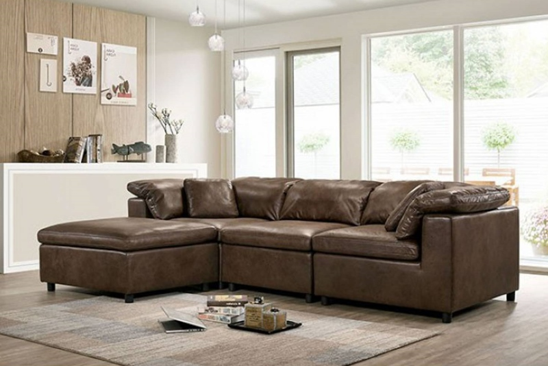 Tamera 4 Seat Sectional Sofa in Brown