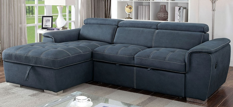 Patty Sectional Sofa in Blue Gray