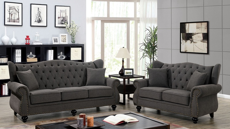 Ewloe Living Room Set in Dark Gray