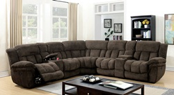 Irene Reclining Sectional in Brown