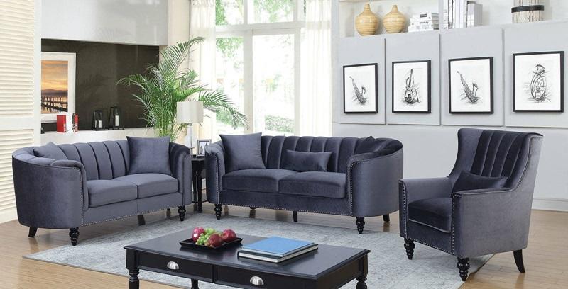 CM6632GY Linnea Gray Sofa Set | Furniture of America | Free Delivery